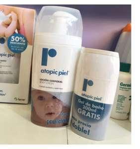 """atopic piel promo: """"loción 750ml+ gel 250ml"""" (50% de descuento en gel)"""